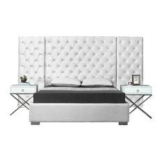 Grande Velvet Bed, White, Queen