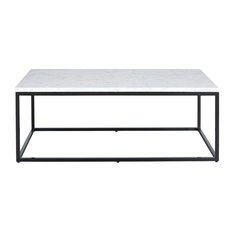 Julien Rectangular Cocktail Table, Black Base, White Marble Top