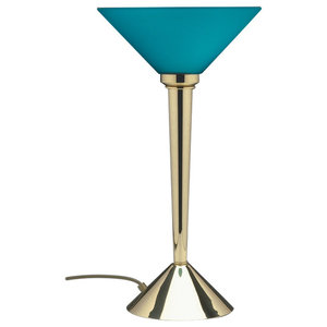 Prudence Table Lamp, Polished Brass and Blue