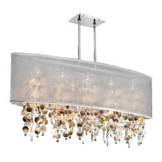 "45""W Oval Shaded Mother of Pearl Shell and Crystal Chandelier 