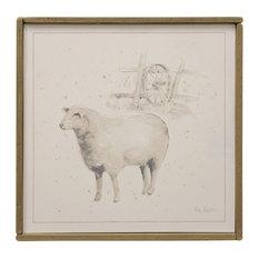 Sheep 2 Farm Animal Art, Canvas Print with Handpainting