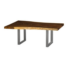 99-inch L Davids Dining Table Live Edge Solid Acacia Wood Natural Freeform Steel