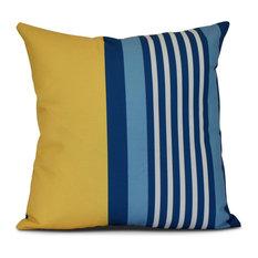 "Beach Shack, Stripe Print Pillow, Yellow, 16""x16"""