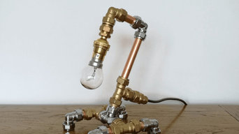 Industrial Copper Pipe Mixed Metal Short Table Lamp