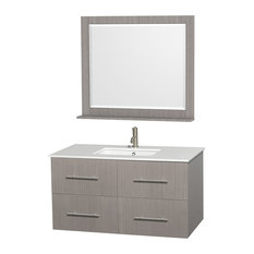 "Centra 42"" Gray Oak Single Vanity, White Man-Made Stone Top, Drop-In Square Sink"