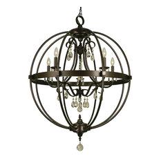 5-Light Compass Foyer Chandelier, Mahogany Bronze