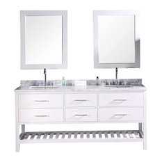 "London 72"" Double Sink Vanity Set, White"