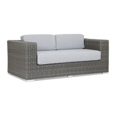 Sunset West Emerald II Loveseat With Cushions, Canvas Granite With Self Welt