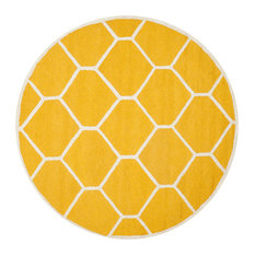 Safavieh Cambridge Collection CAM144 Rug, Gold/Ivory, 6' Round