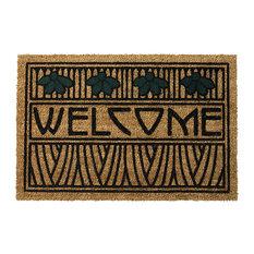 Arts and Crafts Dard Hunter Design Iris Motif 29 x 19 Doormat