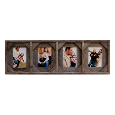 Collage Picture Frames With 4 Openings, Barn Wood With Cornerblocks, 5x7