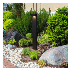 """32"""" Modern Low-Voltage 5-Watt Integrated LED Outdoor Bollard, Matt Black"""