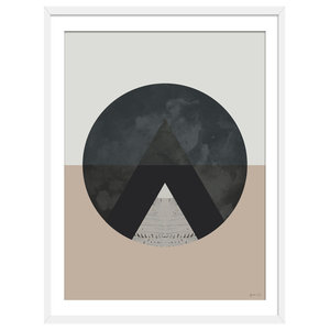 """View From The Top"" Abstract Art Print, White Framed, 50x70 cm"