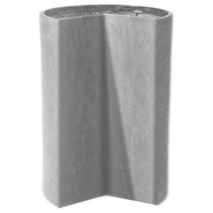 Fitted Modular Cylinder Planter, Lead Gray, 15x15x18, With Drainage Holes