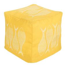 """Surya Poufs Pouf/Ottoman, Yellow, Square 18"""""""