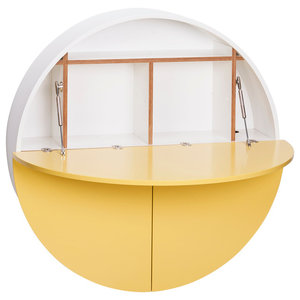 Multifunctional Pill Fold-Out Convertible Wall-Mounted Desk, White and Yellow