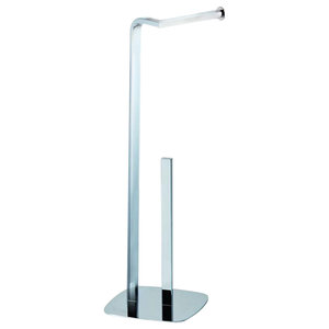 Free-Standing Kingston Toilet Roll and Spare Toilet Roll Holder, Chrome Finish