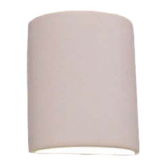 Everly Half Cylinder Outdoor Wall Light, Paintable Bisque, Open Top