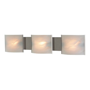 Pannelli 3 Light Vanity, Stainless Steel And White Alabaster Glass