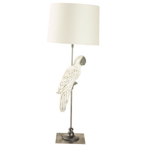 Wooden Parrot Table Lamp with cream shade, White