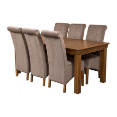 French Chateau Oak Dining Table With 6 Montana Chairs, Grey Velvet Effect