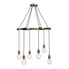 Minimalist Urban Industrial 6 Light Ring Chandelier | Hanging Bulbs Brass Bronze