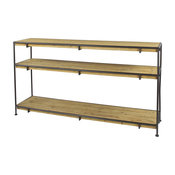 Industrial Metal and Natural Wood Console Table