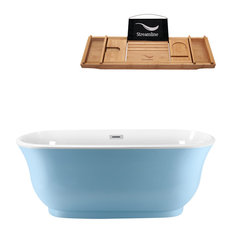 """59"""" Blue Freestanding Tub and Tray With External Drain, Oval Shaped"""
