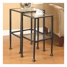 Coaster Glass and Metal Large Nesting Table, Black Finish, Set of 2