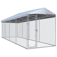 "vidaXL Outdoor Dog Kennel with Roof Lockable 299""x75.6""x88.6"" Steel Pet Cage"