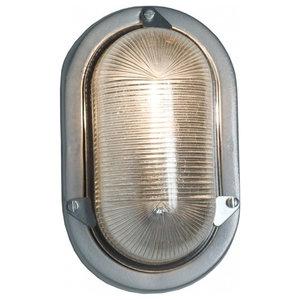 Oval Bulkhead Light, Silver, Standard E27 Fitting