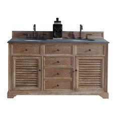 "Savannah 60"" Double Vanity Cabinet, Driftwood, 2CM Black Rustic Stone Top"