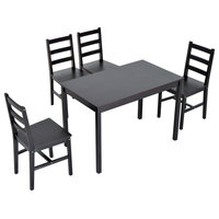 5-Piece Solid Pine Wood Table and Chairs Dining Set, Brown