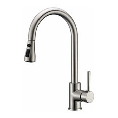 Modern Single Handle Kitchen Mixer Tap, Stainless Steel With Pull Down Spray