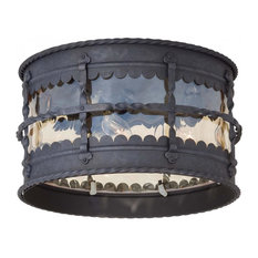 3 Light Outdoor Flush Mount With Black Finish