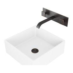 VIGO Dianthus Matte Stone Vessel Sink and Titus Wall Mount Faucet With Pop Up