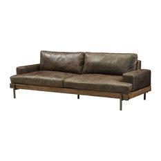 Sofa In Distressed Chocolate Top Grain Leather, Oak Wood Trim Top Grain Leather