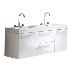 Fresca Opulento White Modern Double Sink Cabinet With Integrated Sinks