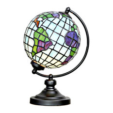 """14.9"""" Tiffany Style Stained Glass Round Globe Table Lamp"""