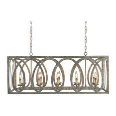 Terracotta Designs  Palma Linear Chandelier with washed gray Finish