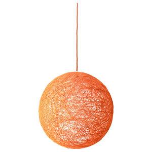 Sphere Modern Pendant Light, Orange, Medium