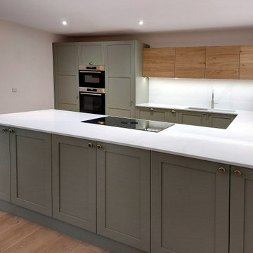 Green Shaker and Exposed Oak Kitchen