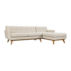 Engage Right-Facing Upholstered Fabric Sectional Sofa, Beige