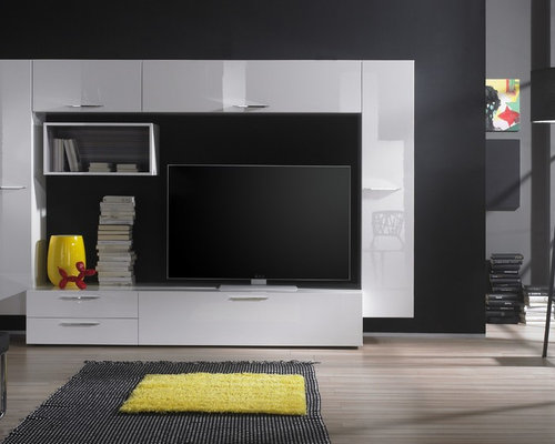 modern wall unit tv media center club composition 5 products