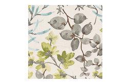 Aqua and Gray Watercolor Floral Fabric