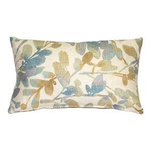 Pillow Decor, Linen Leaf Marine Throw Pillow 12x20