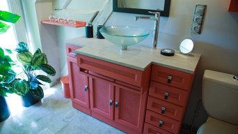 Salle de bain cuir et terracotta