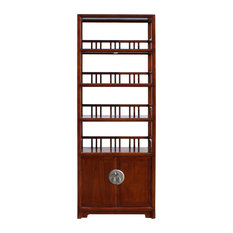 Chinese Distressed Brown 4 Shelves Bookcase Display Cabinet