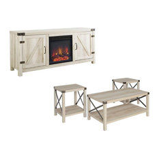 Farmhouse Fireplace TV Stand with Coffee Table and 2 End Tables Set in White Oak