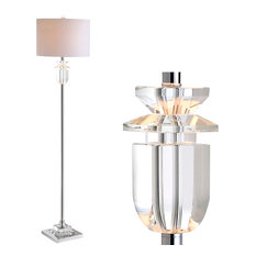 "Aria 63"" Crystal and Metal Floor Lamp, Clear and Chrome"